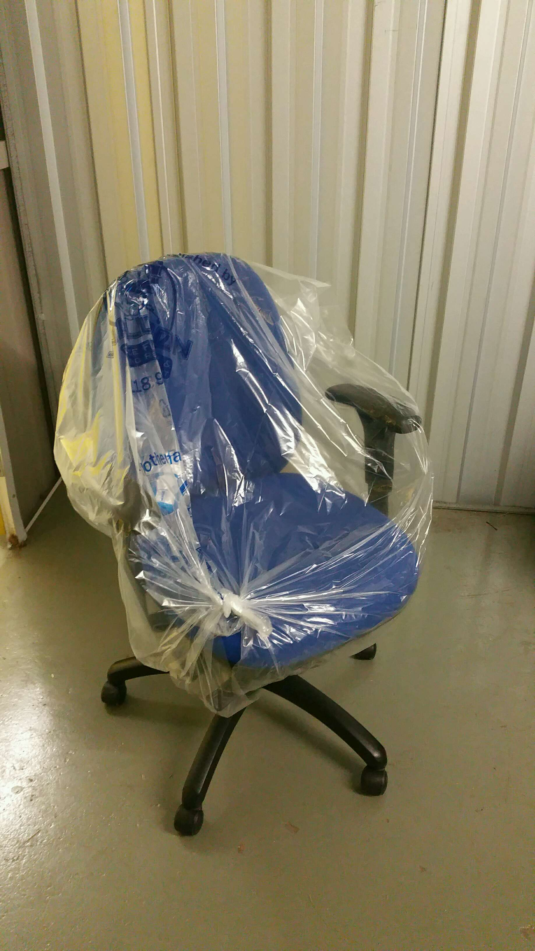 7. Office Chair Blue Fabric Adjustable Arms