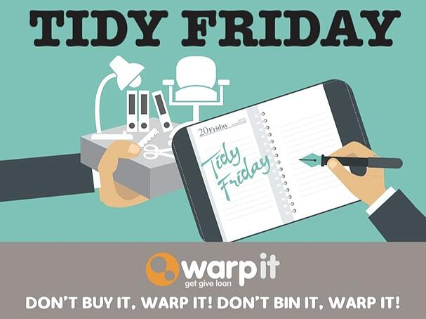 warp it tidy friday campaign clear clutter reuse office