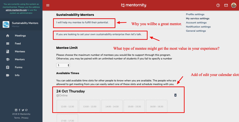Settings mentor 4