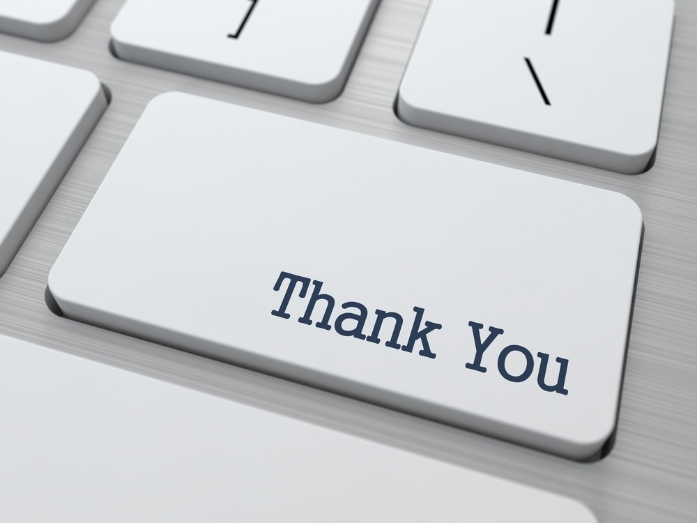 Thank You Button on Modern Computer Keyboard with Word Partners