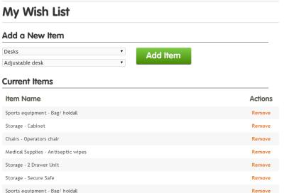 warp it wish list items claims add